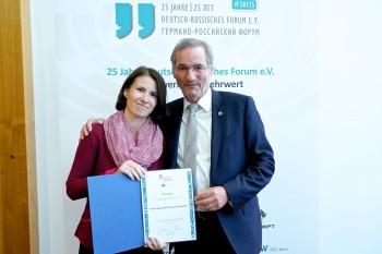 Danksagung für Engagement in deutsch-russischer Zusammenarbeit - 25 Jahre Moskau-Austausch am DBG erfuhr Ehrung in Berlin
